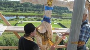 Освящение креста купола храма Рождества Богородицы в Пречистом бору. 17.08.2017